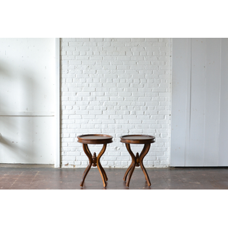 Pair of Round Wooden End Tables