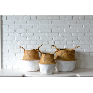 Trio of Natural and White Handled Baskets