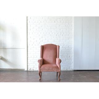 classic pink velvet upholstered chair