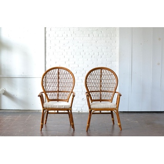 bamboo wooden chairs upholstered neutral