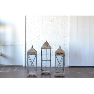Trio of Large Wooden Lanterns