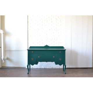 emerald wodden sideboard on white background