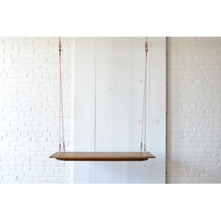 Small Hanging wooden Farm Table Copper Cable
