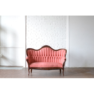 pink button tufted upholstered