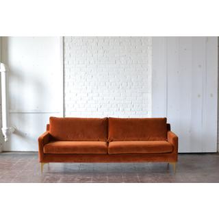 velvet rust red orange modern couch