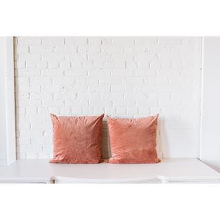 two pair mauve square velvet pillows on white backround