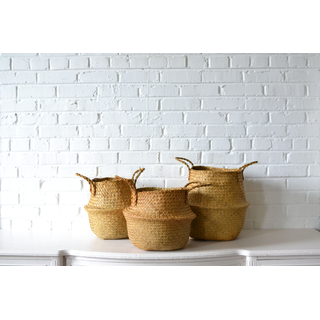 Trio of Natural Handled Baskets