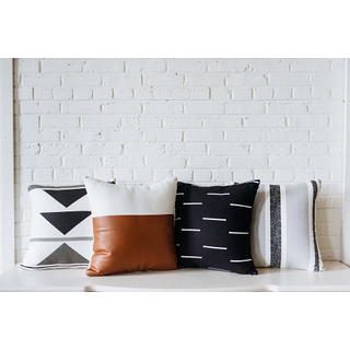 Collection of 4 Graphic Print black brown Pillows