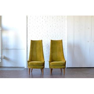 modern mid-century green velvet chairs