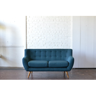 mid-century modern blue upholstered seating