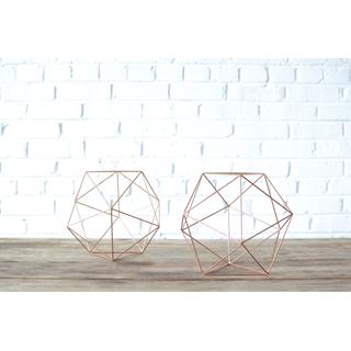 pair two geometric copper shapes sculptures