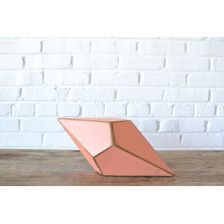 Painted peach wooden prism gold trim