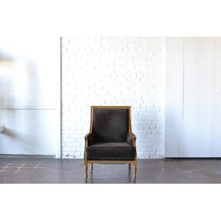 dark brown velvet wood trim chair