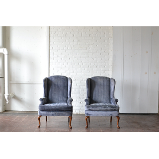 French blue upholstered chairs wtih wooden legs