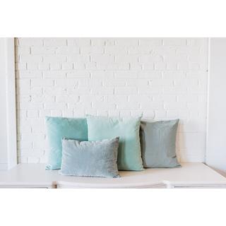 Collection of four Light Blue velvet square Pillows