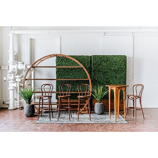 panel seating barstools round wooden arbor shelving aperture cocktail table hedgewall