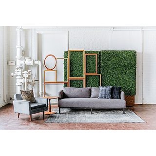 panel seating gray blue couch chair frame backdrop rug hedgewall
