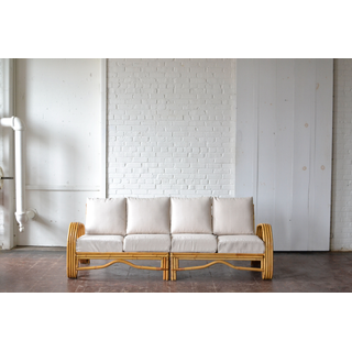 neutral upholstered boho couch seating linen