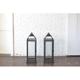 Pair of Large Black Metal Lanterns