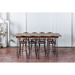 bar height haripin table wooden barstools tall seating on white backround