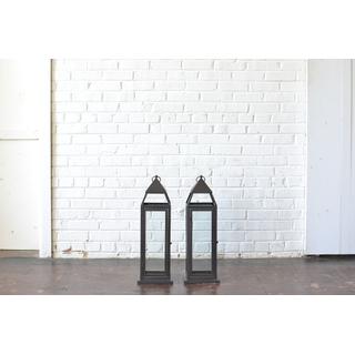 Pair of Medium Black Metal Lanterns