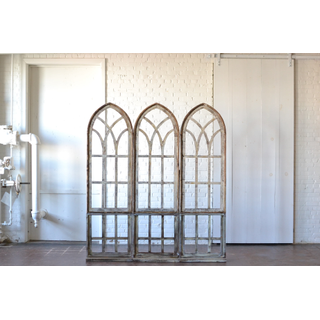 Trio of Arched wooden Windows with Risers