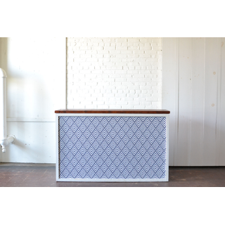 Shadowbox Bar with Blue White Patterned Insert Wood Top
