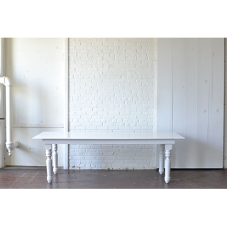 white classic wooden leg dining table