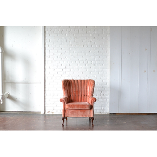 pink velvet chair carved legs channel back