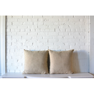 Pair of Oversize Wheat tan square Pillows