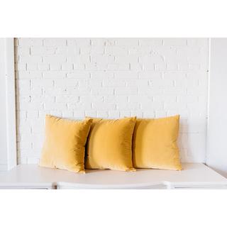 trio three yellow velvet pillows