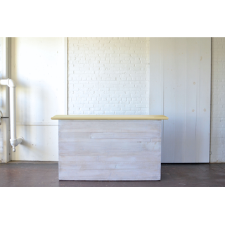 Homestead Whitewashed Bar with Light Wood Top