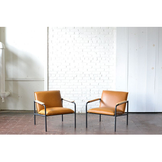 modern brown leather metal chairs