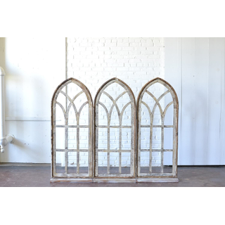 Trio of Arched wooden Windows with Stands
