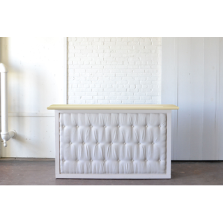 White tufted Bar with Light Wood Top