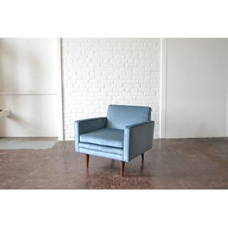 mid-century modern blue velvet chairs