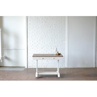 white desk wooden top scroll leg