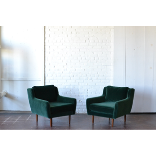 pair two velvet emerald green club chairs