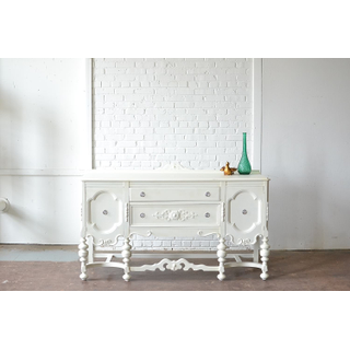 antique ornate white wooden sideboard