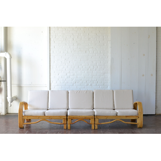 bamboo wooden sectional neutral upholostery boho