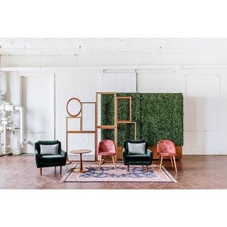panel seating blush pink green velvet upholstered seating frame backdrop hedgewall