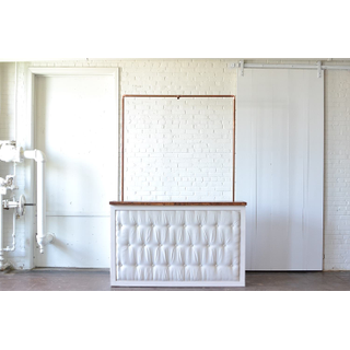 Tufted white Bar with Copper Truss