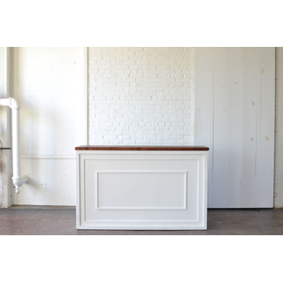 white shadowbox bar with wood wooden top