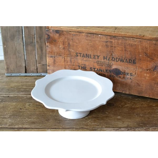 classic white curved glass cake stand