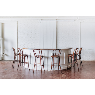 white wooden estate bar with brown wooden bentwood barstool on white backround