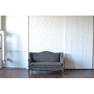 gray upholstered settee victorian
