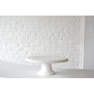 white glass cake stand