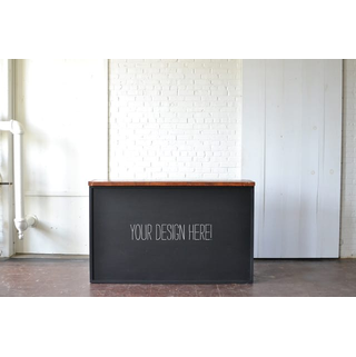 chalkboard bar black wood top