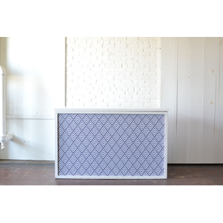 Shadowbox Bar with Blue White Patterned Insert White Top