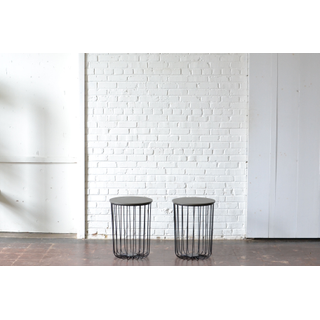 Pair of Tall Metal Industrial End Tables